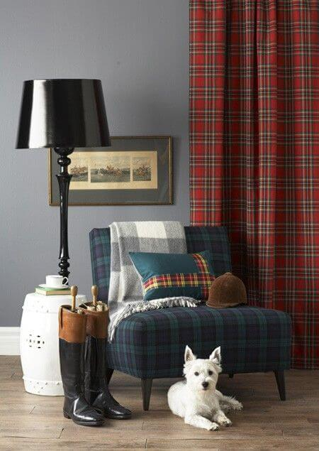Plaid throw on living room chair