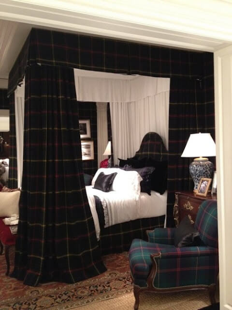 Master bedroom dressed in plaid