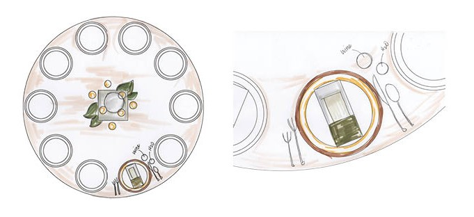 Place Setting design for Gore Place Gala