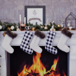 holiday decorations over fireplace