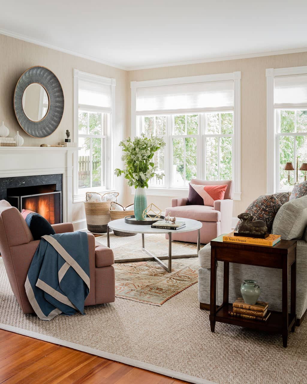Concord Chic Living Room View Featuring Wood Burning Fireplace And Upholstered Furniture Interior Design