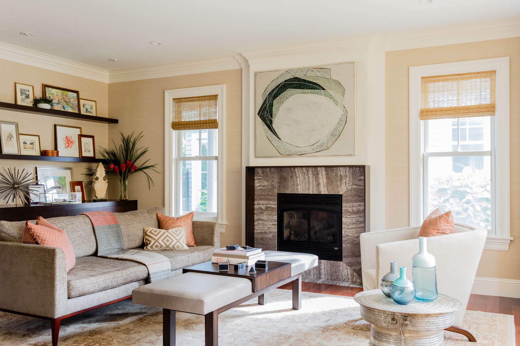 custom marble slab fireplace