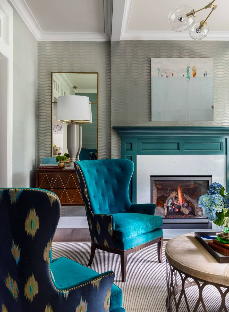 Colored Finished Fireplace