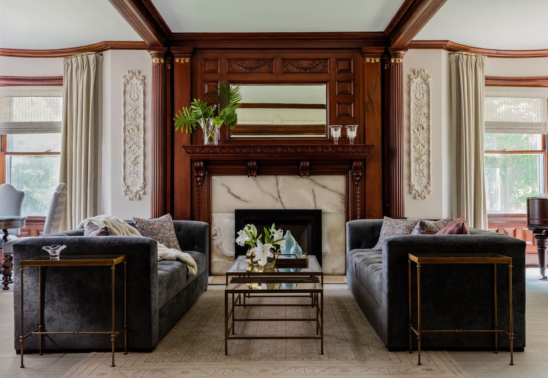 Victorian woodwork around marble fireplace